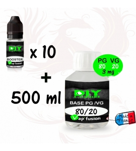 Pack base neutre - 500 ml - PG/VG 80/20 + 3 à 9 mg boosters 20mg - Diy e liquide - Vapfusion