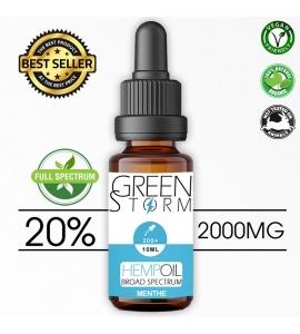 Huile de Chanvre BIO  Broad Spectrum 20% 2000 mg 10 ml Hemp Oil saveur Menthe