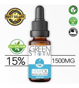 Huile de Chanvre BIO  Broad Spectrum 15% 1500 mg 10 ml Hemp Oil saveur Menthe