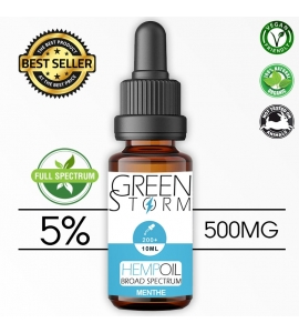 Huile de Chanvre BIO  Broad Spectrum 5% 500 mg 10 ml Hemp Oil saveur Menthe
