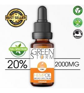 Huile de Chanvre BIO  Broad Spectrum 20% 2000 mg 10 ml Hemp Oil saveur Orange