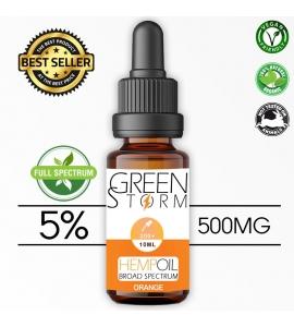 Huile de Chanvre BIO  Broad Spectrum 5% 500 mg 10 ml Hemp Oil saveur Orange
