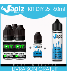 120ml (2 x 60ml) Kit DIY e liquide Vapiz, arômes au choix, Blond, Brun,Menthe..